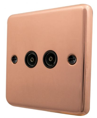 G&H CBC36B Standard Plate Bright Copper 2 Gang TV Coax Socket Point
